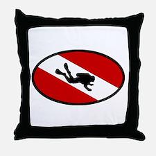Diver Down Flag Diver Throw Pillow