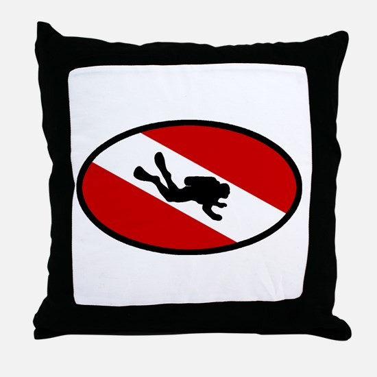 Diver Down Flag Diver Throw Pillow