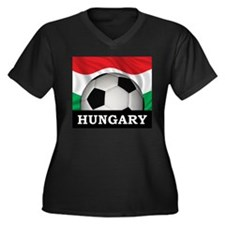 Hungary Football Women's Plus Size V-Neck Dark T-S