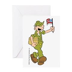 Flag-waving Beetle Greeting Card