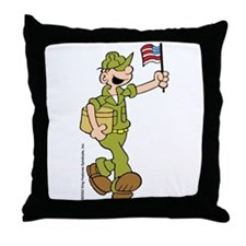 Flag-waving Beetle Throw Pillow