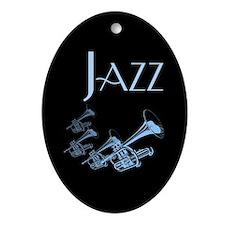 Jazz Trumpet Blue Oval Ornament