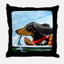 Dachshund Takes the Wheel Throw Pillow
