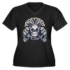 Further Still Women's Plus Size V-Neck Dark T-Shir