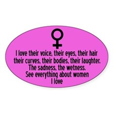 I Love Women Oval Stickers