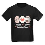 Peace Love Journalism Kids Dark T-Shirt