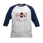 Peace Love Journalism Kids Baseball Jersey