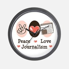 Peace Love Journalism Wall Clock