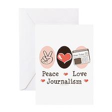 Peace Love Journalism Greeting Card