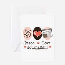 Peace Love Journalism Greeting Card