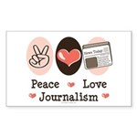 Peace Love Journalism Rectangle Sticker 50 pk)