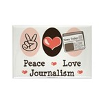Peace Love Journalism Rectangle Magnet (100 pack)
