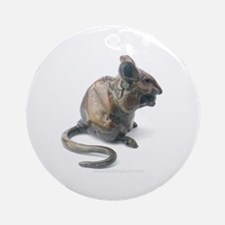 Bronze mouse eating - Ornament (Round)