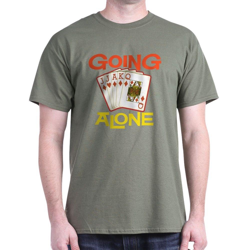 39509233 CafePress Euchre Going Alone Black T Shirt 100/% Cotton T-Shirt