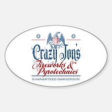 Crazy Jon's Funny Fireworks Company Oval Decal