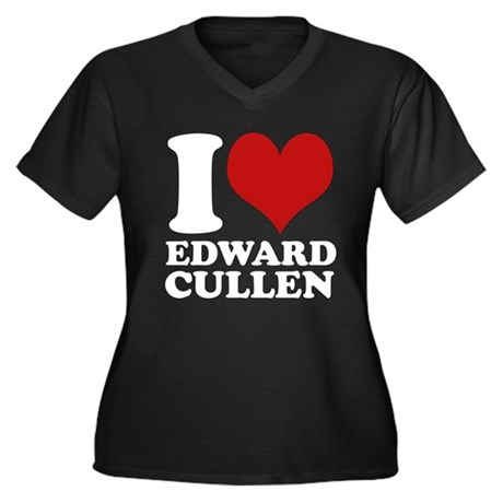I Love Edward Cullen Women's Plus Size V-Neck Dark