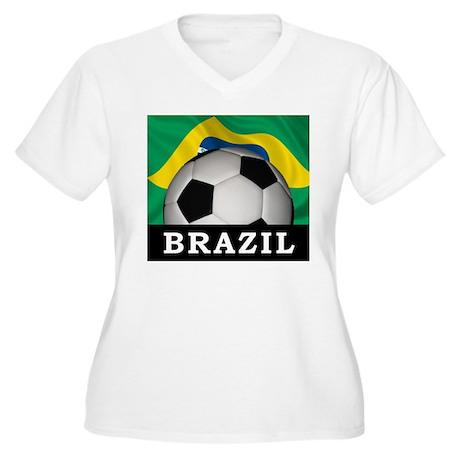 Brazil football women 39 s plus size v neck t shirt brazil for Womens brazil t shirt