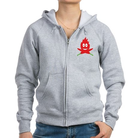 hot red chili peppers flame Women's Zip Hoodie