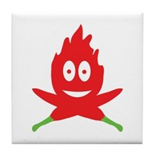 hot red chili peppers flame Tile Coaster
