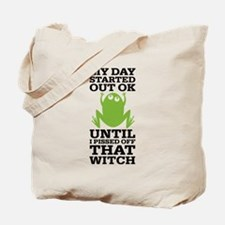 Funny Frog Mean Witch Tote Bag