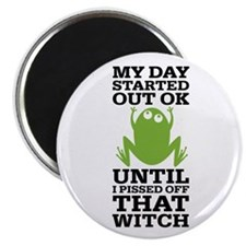 "Funny Frog Mean Witch 2.25"" Magnet (10 pack)"