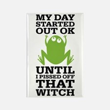 Funny Frog Mean Witch Rectangle Magnet