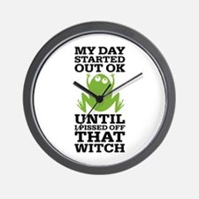 Funny Frog Mean Witch Wall Clock