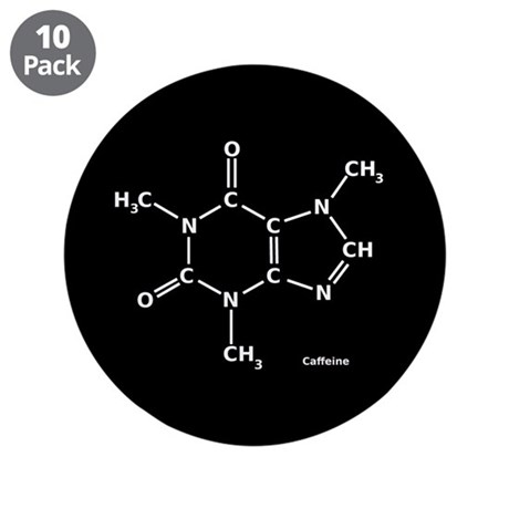 """2D Caffeine Molecule 3.5"""" Button (10 pack)"""