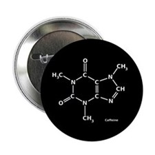 "2D Caffeine Molecule 2.25"" Button (10 pack)"