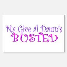 My Give A Damn's Busted Bumper Decal
