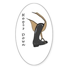 Heels Down Vertical Illus. Oval Decal