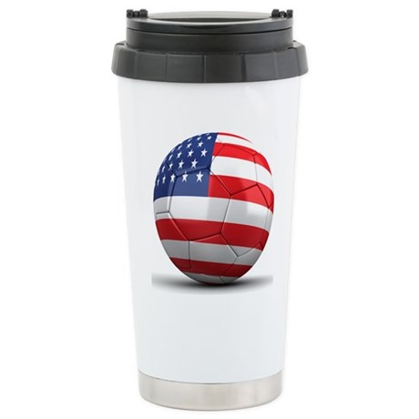 USA Soccer Ball Stainless Steel Travel Mug