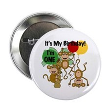 """Monkey 1st Birthday 2.25"""" Button"""