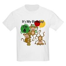 Monkey 4th Birthday T-Shirt