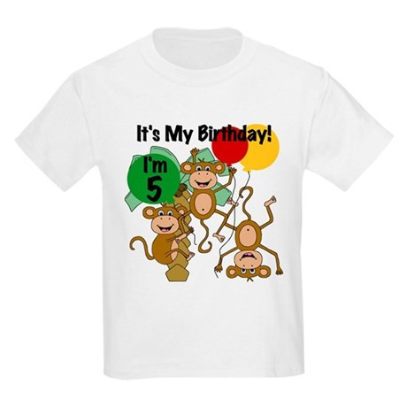 Monkey 5th Birthday Kids Light T-Shirt