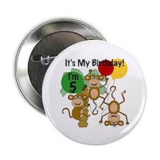 "Monkey 5th Birthday 2.25"" Button"