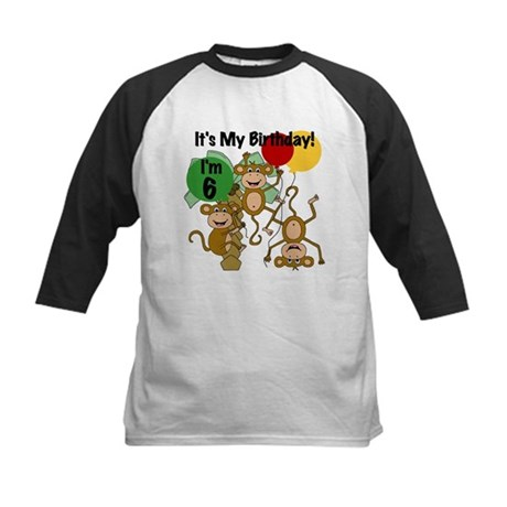 Monkey 6th Birthday Kids Baseball Jersey