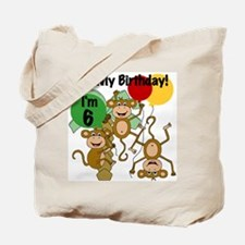 Monkey 6th Birthday Tote Bag