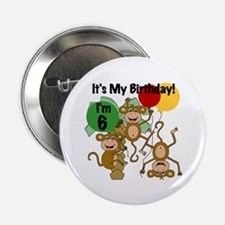 "Monkey 6th Birthday 2.25"" Button"