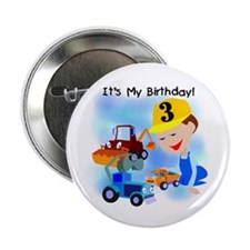 "Construction 3rd Birthday 2.25"" Button"
