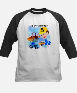 Construction 5th Birthday Kids Baseball Jersey