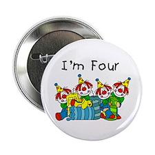 "Clowns 4th Birthday 2.25"" Button"