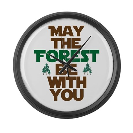 May The Forest Be With You Large Wall Clock