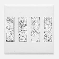 Four Seasons Fairy Cats Tile Coaster
