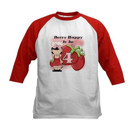 (Black) Berry 4th Birthday Kids Baseball Jersey
