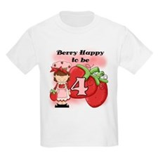 (Brunette) Berry 4th Birthday T-Shirt