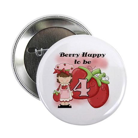 "(Brunette) Berry 4th Birthday 2.25"" Button"