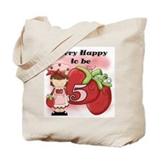 (Brunette) Berry 5th Birthday Tote Bag
