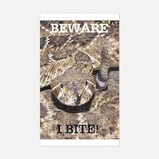Beware: I Bite Rectangle Decal
