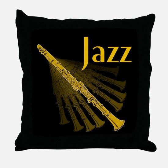 Jazz Clarinet Gold Throw Pillow